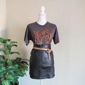 Pelleteria Vintage Black Leather MIni Skirt